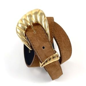 VTG suede leather belt with gold buckle